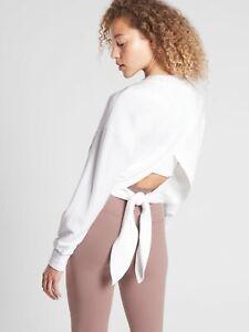 EUC Athleta Yoga Tie Back Sweatshirt, Bright White Women's size XXS XX Small