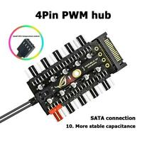 Fan Hub PWM - 10 PWM Lüfter - SATA Power 4-Pin Fan 10 Port Controller Splitter