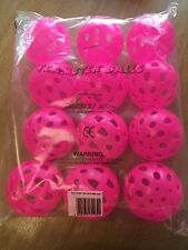 12 Brightly Coloured Pink Teamster Balls - Perforated Balls - Ref:020020
