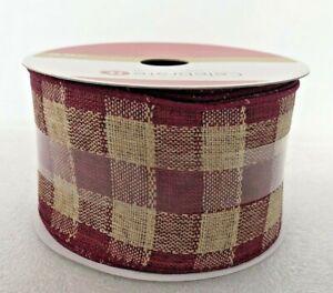 Burgundy Wine & Tan Buffalo Plaid Gingham Wired Ribbon 25 Feet 2 1/2 Inches Wide
