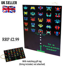 2x Space Invader Gamer A5 Birthday Greeting Card Son Friend Grandson Gift Tag