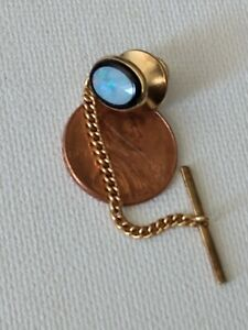 Vintage Dolan and Bullock Opal and Onyx 14k tie tac