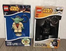 Lego Star Wars Darth Vader & Yoda Luz Paquete Llavero LED Lite Nuevo