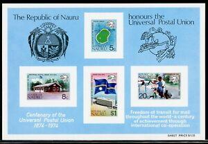Nauru Scott #117a MNH S/S UPU Centenary CV$3+