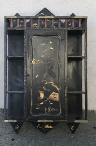 Antique Japanese Black Laquer Curio Cabinet bamboo Rails Brass Fittings