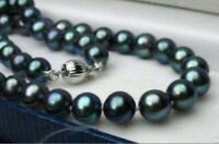 "10mm South Black Sea Shell Pearl Gemstones Round Beads Necklace 18"" AAA Grade"