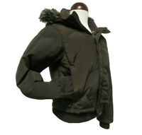 The North Face New Snow Jacket Sz S/P Brown Removable Hood Full Zip Cuff Sleeve.
