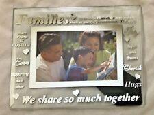 "Glass Silvertone 7X9"" Families Mirror Frame Holds 4X6 Photo"