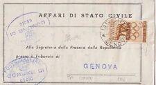 ITALIA 1961 5L OLIMPIADI ISOLATO SU LETTERA TRA COMUNI PER GENOVA