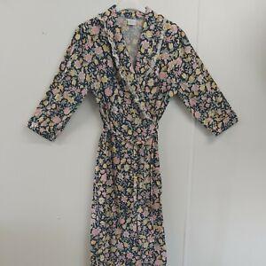 Vintage  1980s  Cotton Kimono Dressing Gown Housecoat  sassy housewife