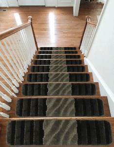 13pc Luxury Carpet Stair Treads NON-SLIP MACHINE WASHABLE Mats Rugs, 22x67cm