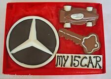 Hand-made Belgian Chocolate Mercedes Badge,Key, Number Plate & Car Gift Box