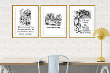 Set 3 Alice in Wonderland A4 quote prints unframed Feat. Mad Hatter Cheshire Cat