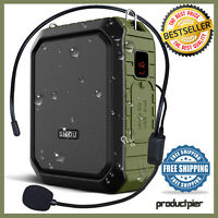 Rechargeable Mini Voice Amplifier Speaker W/ Wired Microphone Headset Waterproof