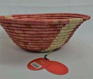"OPALHOUSE Decorative Basket NWT 12"" x 4.7"" Hand Woven Raffia Bowl Pink"