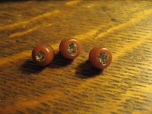 """Rhinestone 1940's Buttons - 3 Vintage Sewing Notions Brown Diamond 3/8"""" Buttons"""