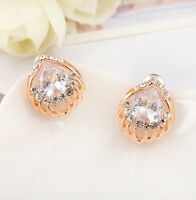 18K Rose Gold Filled Lady Stunning Crystal Fashion Stud Earrings Women's Gift