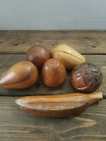 Vintage Carved Wood Wooden Fruit 6 Pieces Centerpiece Art Mid Century Monkey Pod