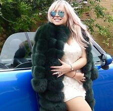 REAL BLUE FOX FUR DYED GREEN Designer JACKET coat CARDIGAN size S FABULOUS!