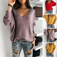 Pullover Loose Women Knitted V Neck Solid Long Sleeve Sweater Cashmere
