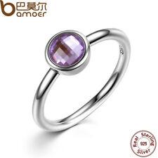 Women Men Charm 925 Silver Ring  Amethyst Wedding Engagement Ring Size 9