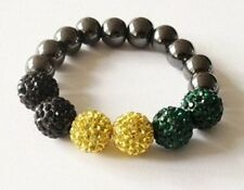 CHILDRENS STRETCHY JAMAICAN FLAG COLOURS SHAMBALLA BRACELET- 6 CLAY DISCO BEADS