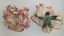 """2X Mauve Creme Dahlia Artificial Silk Flower 4"""" Head Hair Clip Craft"""