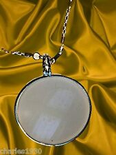 MAGNIFYING GLASS NECKLACES ROUND 5 POW ROUnd silvertone