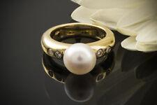 Schmuck Designer Perlenring mit Brillanten & Süßwasserzuchtperle massiv 750 Gold