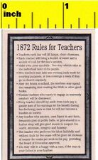 Miniature  Victorian 1872 Rules for School Teachers Sign - Dollhouse 1:12 scale