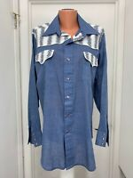 Sears Western Wear long sleeve pearl snap womens shirt rodeo vintage  l large
