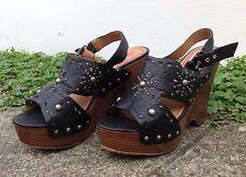 Miss Sixty Dallas Cork Wooden Wedges Studded Black Leather Heels Sz 8 / 38.5