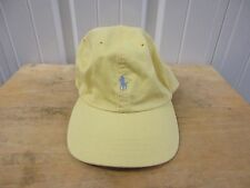 POLO BY RALPH LAUREN CLASSIC HORSE LOGO YELLOW/BLUE LEATHER STRAPBACK CAP/HAT