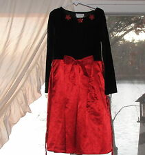 Rare Editions Christmas Holiday Dress Size 7 Black Bodice & Red Skirt