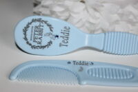 PERSONALISED BABY BRUSH AND COMB,  WITH BLUE GEMS, BABY GIFT