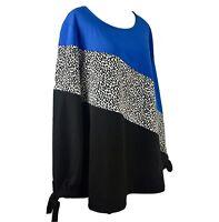 *Read* SIZE 1X-2X Alfani Colorblock Long Sleeve Top Blouse Shirt Plus NWT New