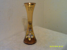 """VINTAGE YELLOW COLOR GLASS GOLD TRIM HAND PAIINTED FLOWER DESIGN 9""""  BUD VASE"""