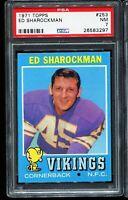1971 Topps Football #253 ED SHAROCKMAN Minnesota Vikings PSA 7 NM