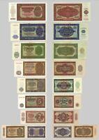 2x 0,50 - 100 DDR Mark Deutsche Notenbank 1948 - 18 Banknoten - Reproduktion
