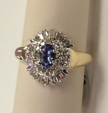NEW LADIES sz. 8 TANZANITE AND DIAMOND RING  14k Yellow & white gold -FREE Shipp