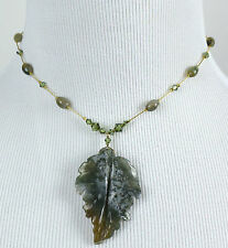 DABBY REID NEW Moss Agate Leaf Pendant Gold Plated Necklace PMN8190G Y29