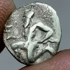 EXTREMELY RARE ANCIENT GREEK SILVER COIN THASOS THASION, 411-350 BC.0,6 GR.10 MM