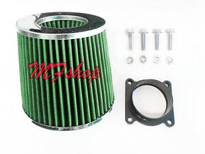 Green Air Intake Filter + MAF Sensor Adapter W/screws For 02-04 Infiniti I35 3.5