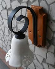 Applique rustico in ferro battuto e legno 1 luce in terracotta E14