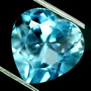 5.3 CARATS,  4 BEAUTIFUL,100% NATURAL HEART SHAPED SKY BLUE TOPAZES, 7 X 7 MM