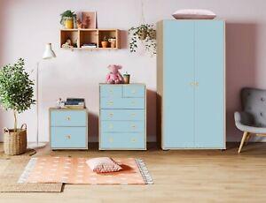 Bedroom Furniture Trio Set Chest of Drawers Bedside Wardrobe  Kids Baby Nursery
