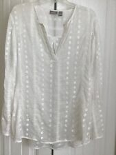 Chico's Sz3 Sheer White Polyester Long Sleeve Top Cotton Eyelet & Embroidery EUC