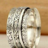 Details about  /925 Sterling Silver Spinner Ring Wide Band Meditation Statement Jewelry A408