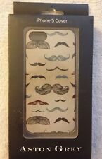 Aston Grey iPhone 5 Cell Phone Cover with Many Moustaches Pattern NEW