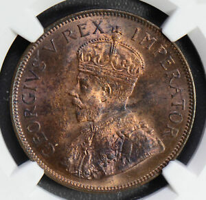 South Africa 1935 Penny NGC MS63RB nice toning NG0497 combine shipping